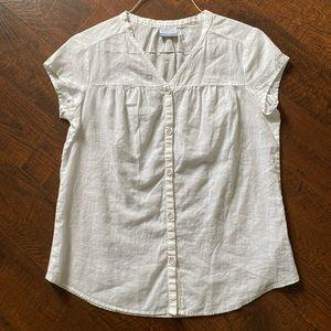 Columbia White Linen Cotton Blend Short Sleeve Top